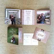 5x5 burlap and lace rustic tri fold wedding invitation and