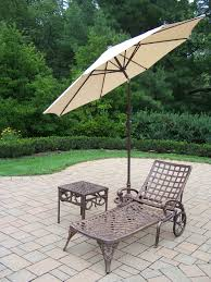 Patio Umbrella Side Table by Oakland Living Cast Aluminum Lounge Set Chaise Lounge W Wheels