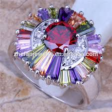 color stones rings images Multi color stone ring large flower rings diamond jewelry jpg