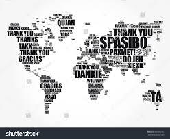 thank you many languages world map stock illustration 667396192