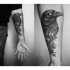 left forearm crow tattoo