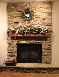 holiday mantel decorating with stone selex timber ledge stone