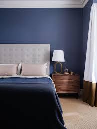 dark blue bedroom arent and pyke design style mid century