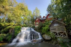 falls cliff trees shed cottage house waterfalls beautiful red yard