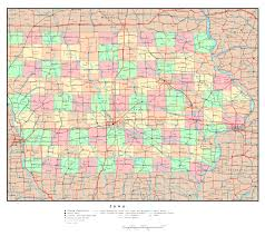 Iowa Maps Large Detailed Administrative Map Of Iowa State With Roads And All