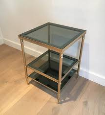 side tables in golden nickel steel with three glass trays set of