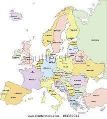 europe map by country highly detailed europe political map country stock vector
