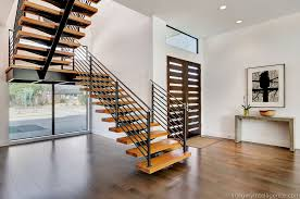 Modern Banister Rails Modern Staircase With French Doors Floating Staircase Hardwood