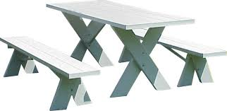 Wooden Picnic Tables With Separate Benches Trel White Plastic Picnic Table With Detached Benches