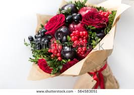 edible bouquet original edible bouquet berries fruits stock photo