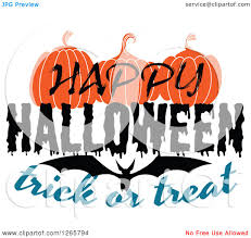 happy halloween pumpkin clipart clipart of a happy halloween trick or treat bat and pumpkin design