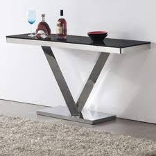 stainless steel console table wilkinson furniture harper stainless steel console table with black
