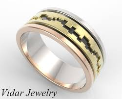 wedding ring mens 4 tone gold wedding band mens vidar jewelry unique custom