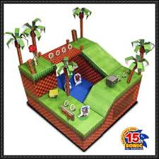Sonic The Hedgehog Papercraft - the hedgehog green hill zone diorama free papercraft