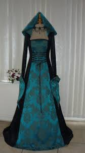 medieval gothic renaissance hooded dress black u0026 teal dawns