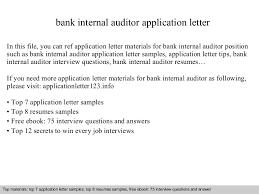 Internal Auditor Resume Sample by Bank Internal Auditor Application Letter