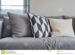 Grey Sofa Living Room Modern Living Room With Black And White Pillows On Grey Sofa Stock