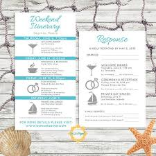 destination wedding itinerary simple and modern wedding itinerary card with rsvp card customize