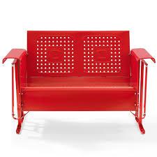 Metal Sofa Glider Amazon Com Outdoor Loveseat Glider In Red Finish Garden U0026 Outdoor