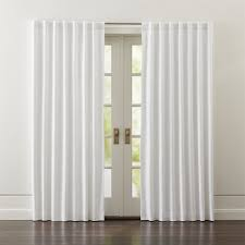 White Lined Curtain Panels Wallace White Blackout Curtains Crate And Barrel