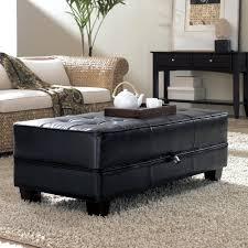 Coffee Table With Storage Elegant Black Leather Coffee Table With Storage And Wooden Base