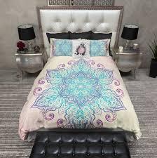 Indie Bedspreads Boho Blue And Purple Mandala Duvet Bedding Sets Pillow Cases