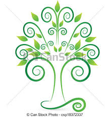 vectors of stylized and swirly tree logo vector of stylized and
