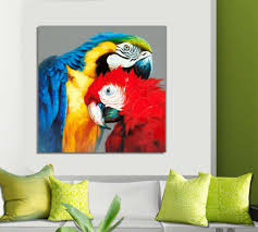 macaw parrot affection painted artwork oil painting on canvas