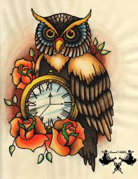 43 owl pocket watch tattoo