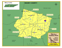 Map Of Tennessee River by Maury County Tennessee Century Farms