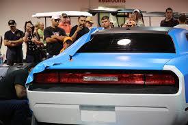 Dodge Challenger Colors - matte blue challenger color change with hood accent car wrap city