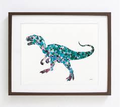blue t rex dinosaur geometric art print watercolor print
