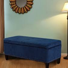 Fabric Storage Ottoman Bench by Joveco Microfiber Button Tufted Storage Ottoman Bench Dark Blue