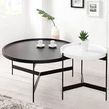 Wohnzimmertisch Truhe Couchtisch Set Lagoon Schwarz Weiß Matt Rund Beistelltisch Tische
