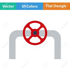 fläche rohr flache design ikone rohr mit ventil in ui farben vektor