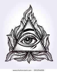 all seeing eye pyramid symbol stock vector 285294686