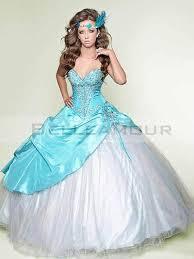 robe de mariã e bleue de mariée longue ballon bleu blanc appliques fleur satin organza