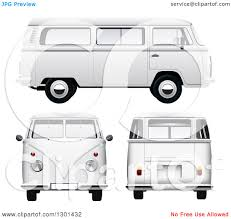 volkswagen van with surfboard clipart clipart of 3d white vw kombi vans at different views on white