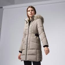 warehouse side tab detail padded coat mink 1 ensemble