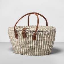 picnic basket set woven picnic basket set best products from target s opalhouse