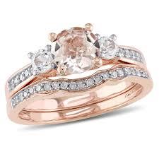 morganite bridal set sofia b 1 2 7 ct tw morganite 10k gold bridal set with