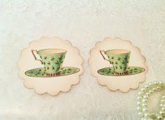 christmas tea party favors tea cup sticker kitchen label kitchen by yellowflowerdesigns