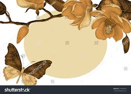 vector card gold magnolia flowers place stock vector 375387427