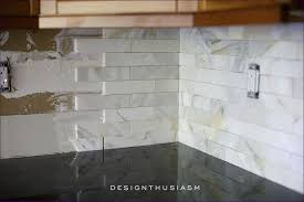 kitchen room beveled marble subway tile backsplash hexagon