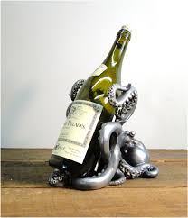 octopus decor octopus silver and gold wine bottle display holder nautical decor