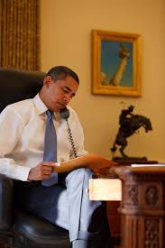 Oval Office Desk by Obama Reads A Letter That Former President George W Bush Left For