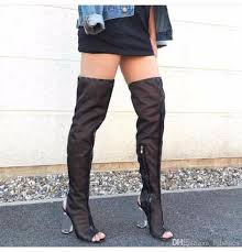 womens knee high boots mesh peep toe thigh high boots style