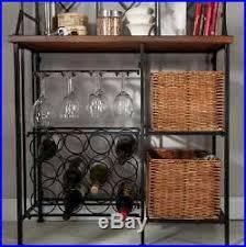 Bakers Rack Wine Bakers Rack Wine Storage Baskets Wooden Shelves Iron Metal Frame