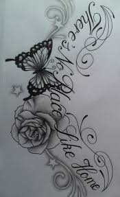 butterfly rose chest tattoo design with text by tattoosuzette on