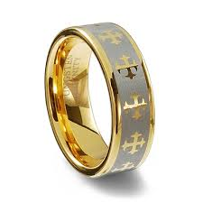 wedding rings gold gold plated tungsten carbide cross ring